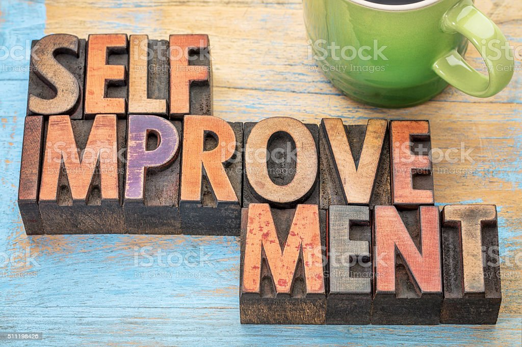 self improvement in wood type stock photo