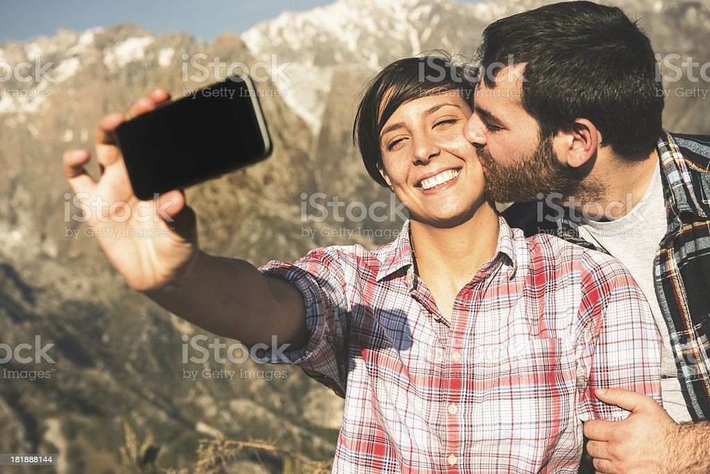 Self photography people on the mountain royalty-free stock photo
