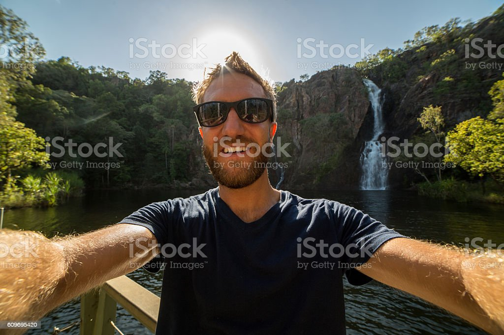 Self portrait of caucasian male at the waterfalls stock photo