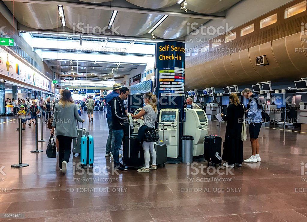 Self service check-in at Arlanda Airport, Stockholm, Sweden stock photo