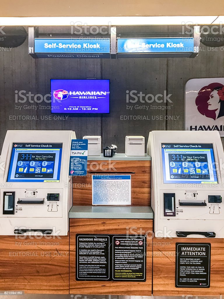 Self Service check-in kiosks at Kahului Airport, Maui, Hawaii stock photo