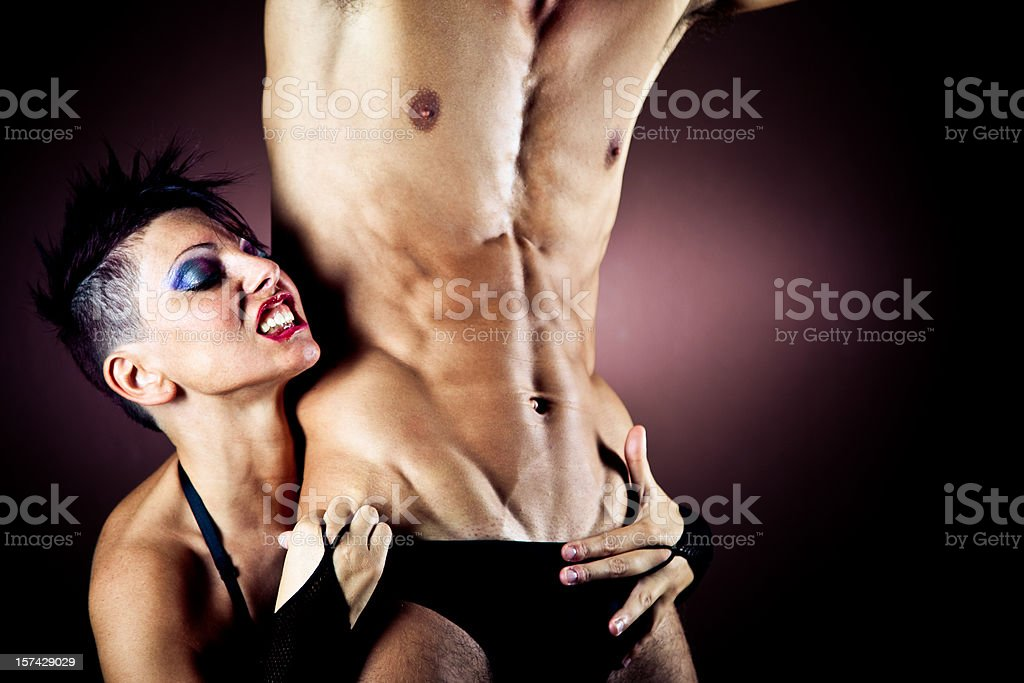 Pack of horny mature women loves abusing the male stripper.