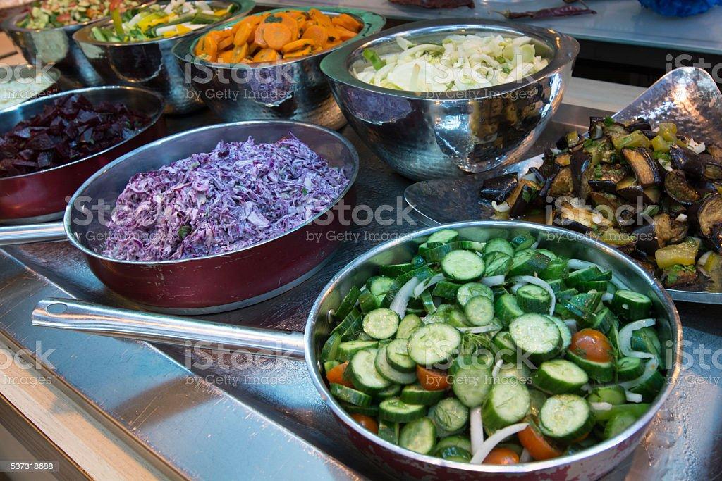 Self service salad stock image stock photo