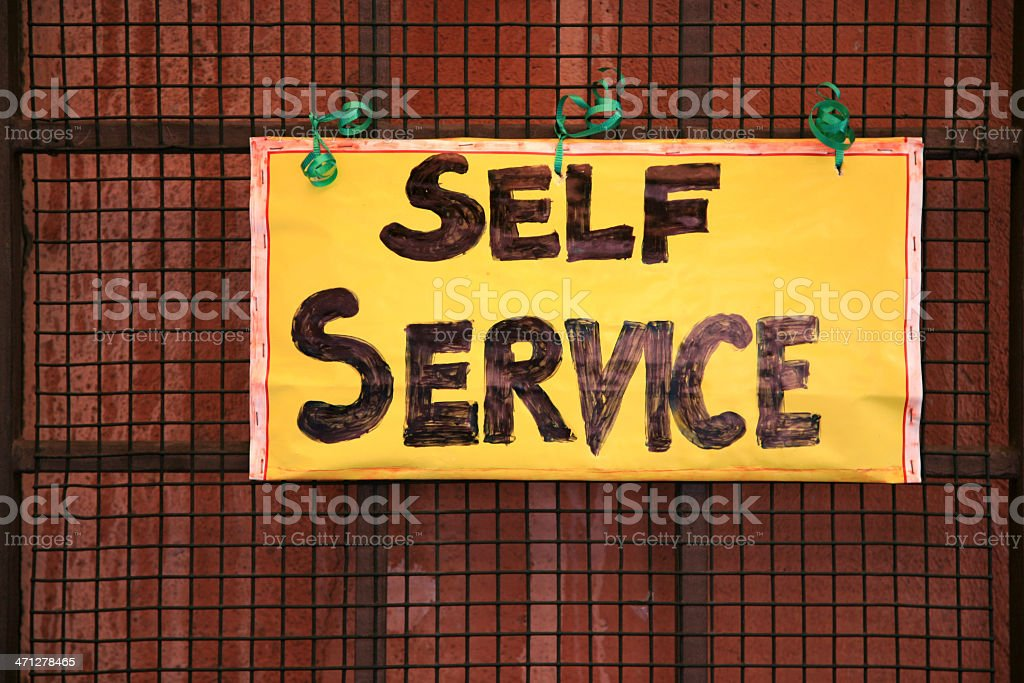 Self service sign stock photo