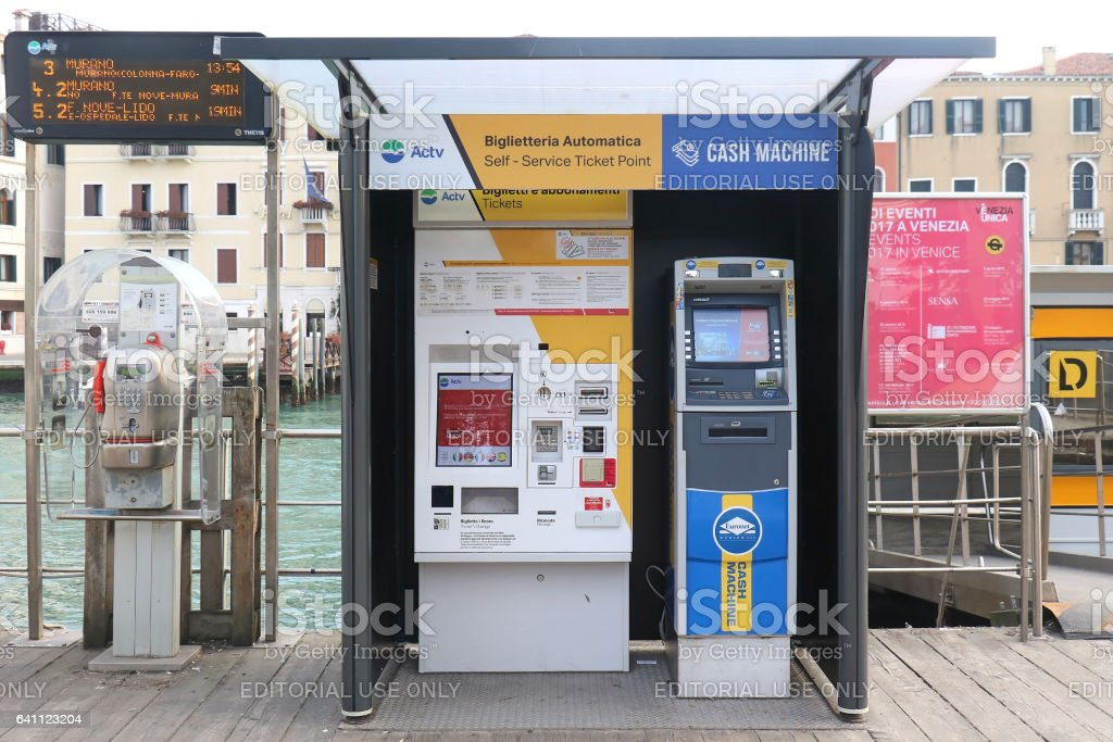 Self service ticket point for Actv network in Venice stock photo