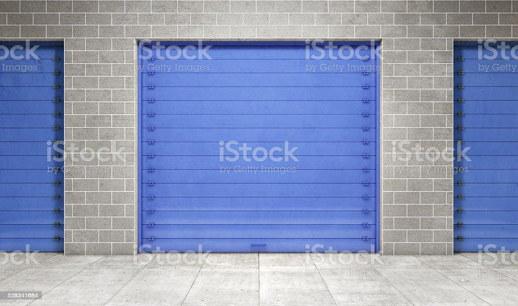 Self storage unit closed. 3d rendering stock photo