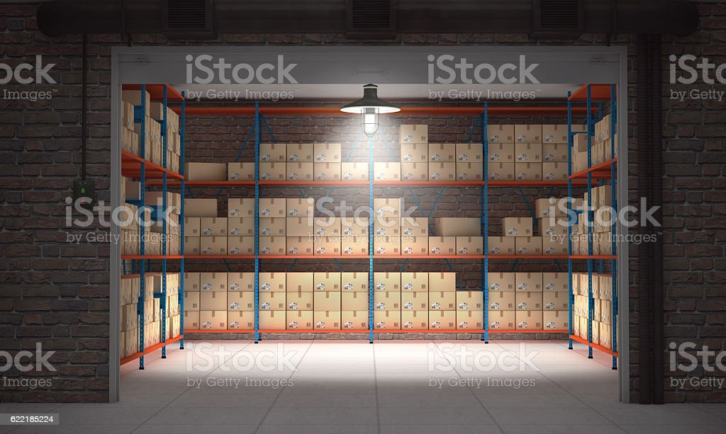 Self storage unit full of cardboard boxes. 3d rendering stock photo