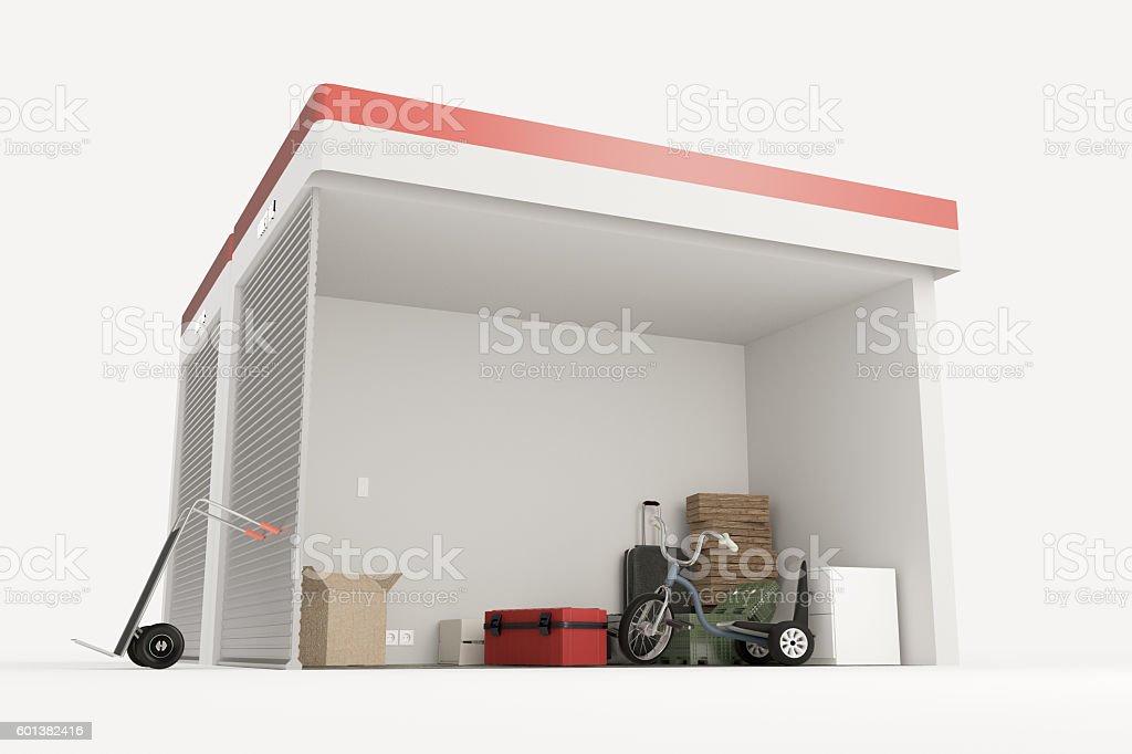self storage units section stock photo