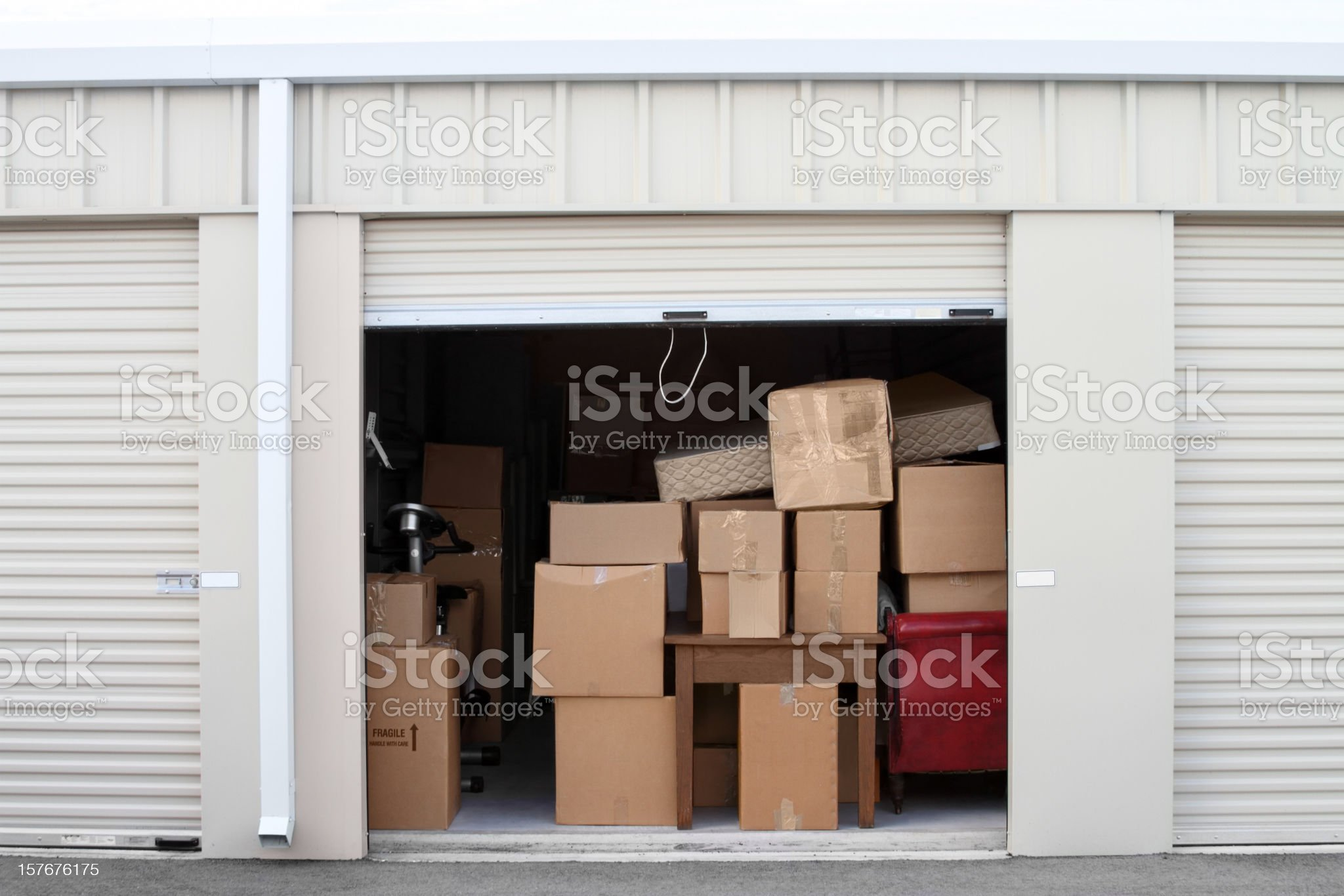 Self storage warehouse building with an open unit. royalty-free stock photo