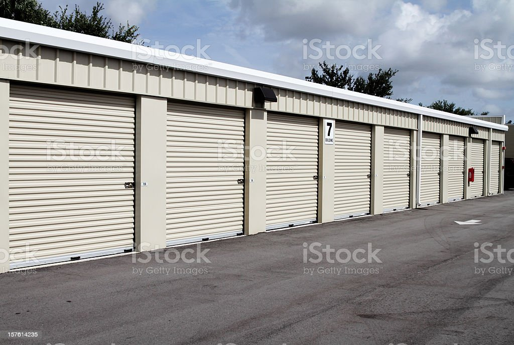 Self storage Warehouse building with multiple units stock photo