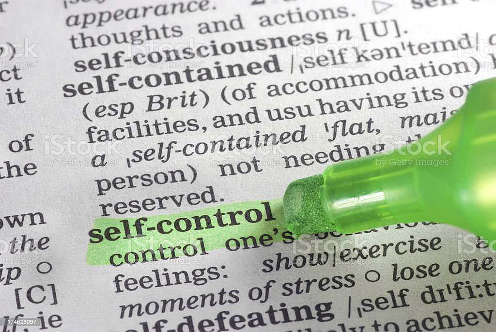 self-control definition highligted in dictionary stock photo