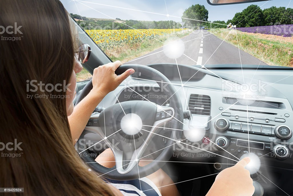 Self-driving car concept stock photo