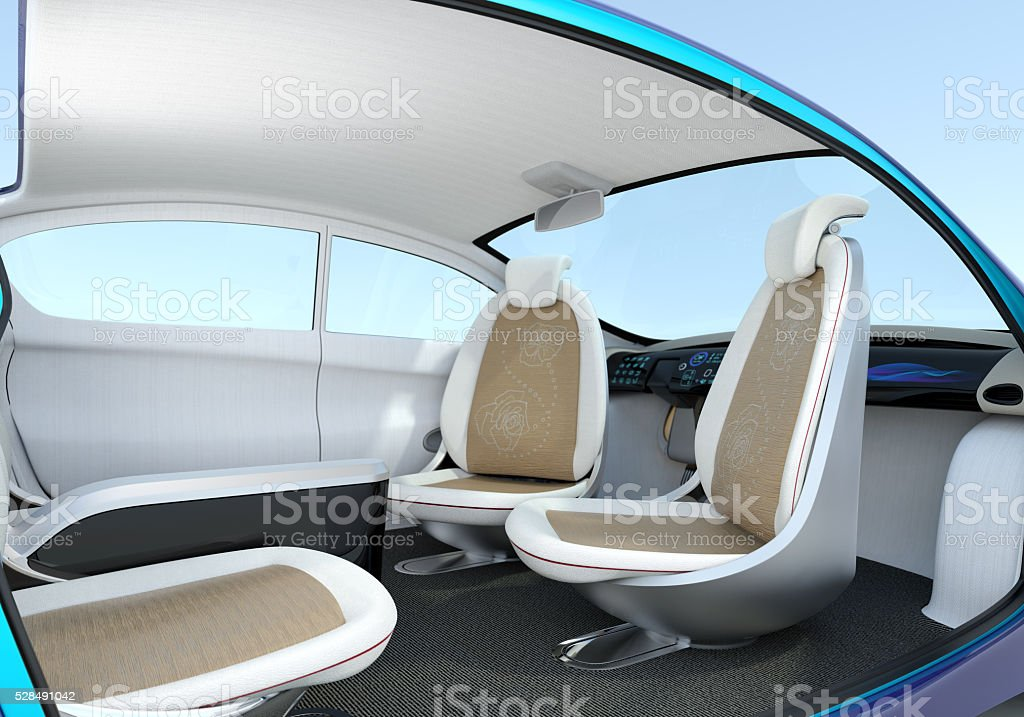 Self-driving car interior concept stock photo