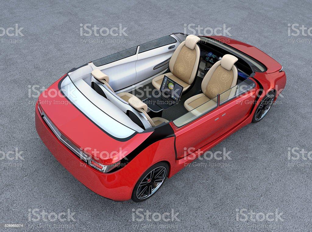 Self-driving car interior concept stock photo