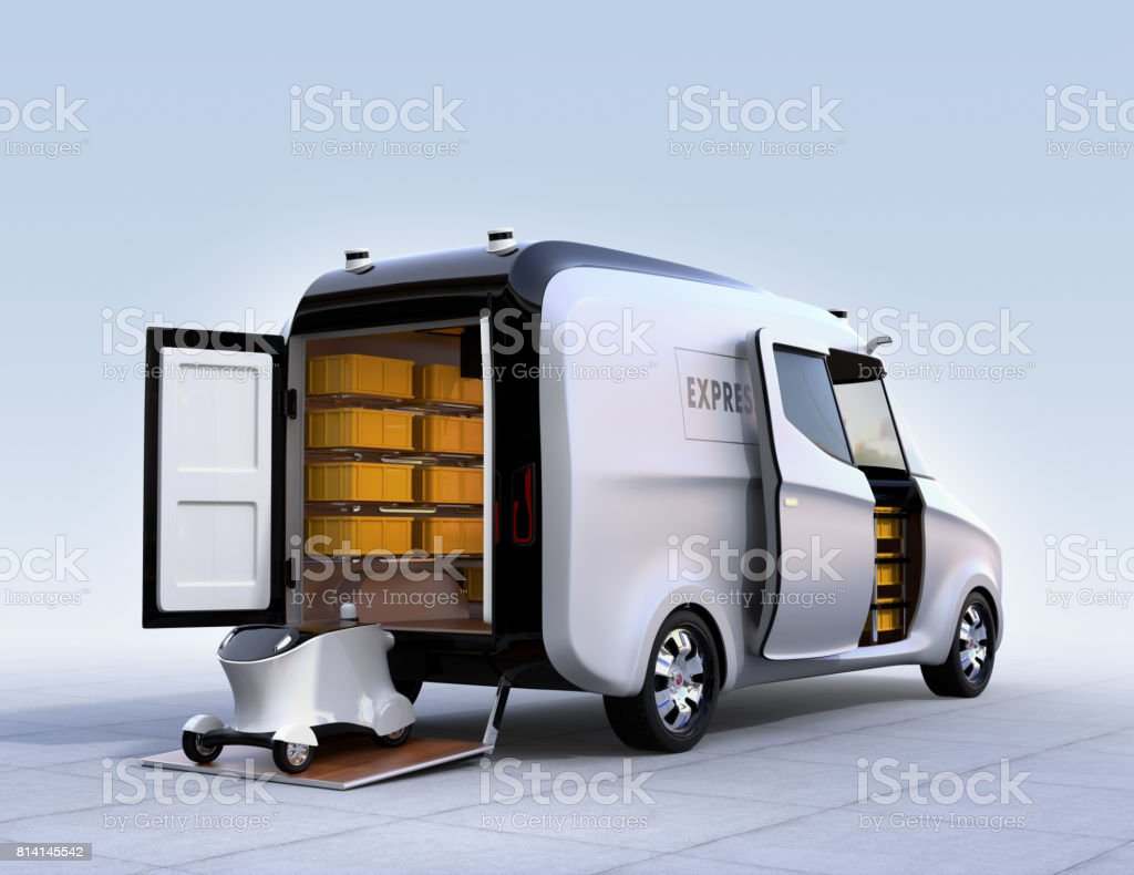 Self-driving delivery robot on van's tail lift stock photo