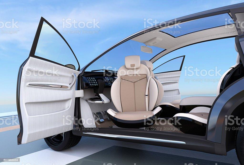 Self-driving SUV interior concept stock photo