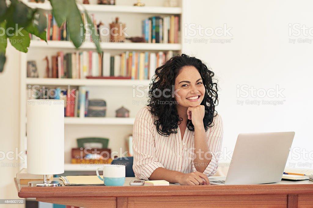 Self-employed and loving it! stock photo