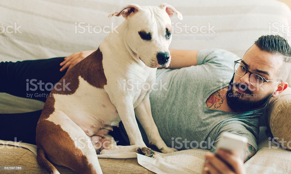 Selfi Man With His Dog. stock photo