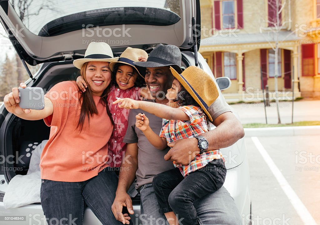 Selfi with family stock photo