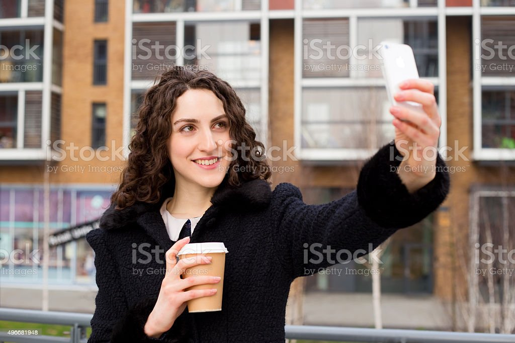 selfie and coffee royalty-free stock photo