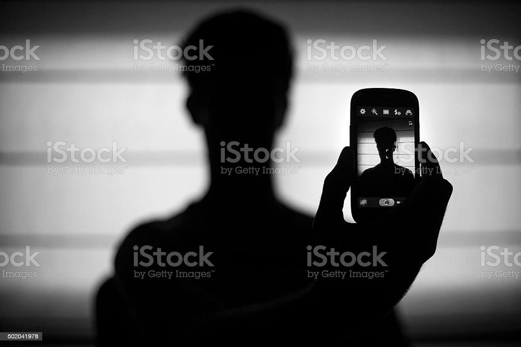 Selfie anonymous person stock photo