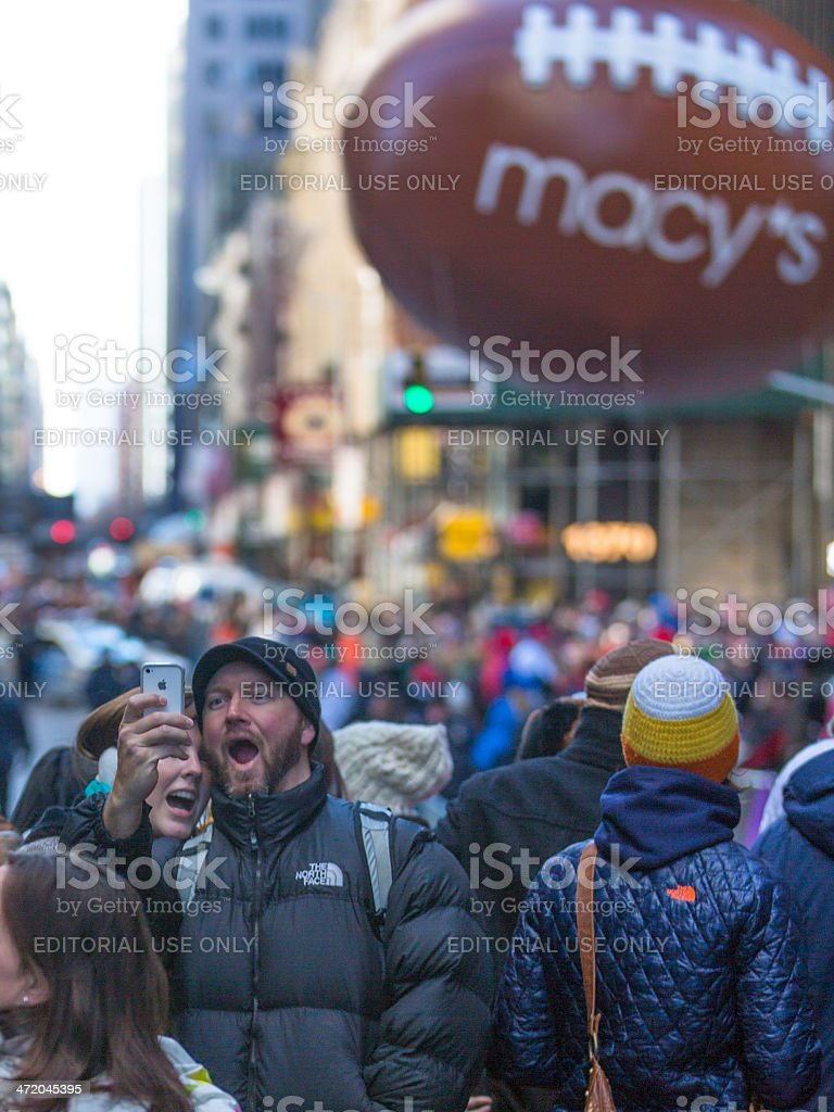 Selfie at Macy's Parade stock photo