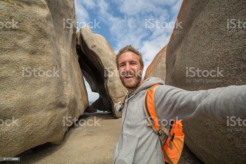 Selfie at the Remarkable rocks on Kangaroo Island-Australia stock photo