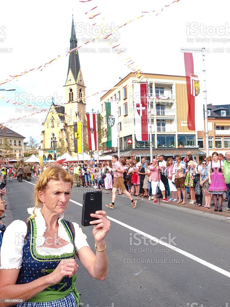 Selfie at Villacher Kirchtag parade in Villach, Austria stock photo