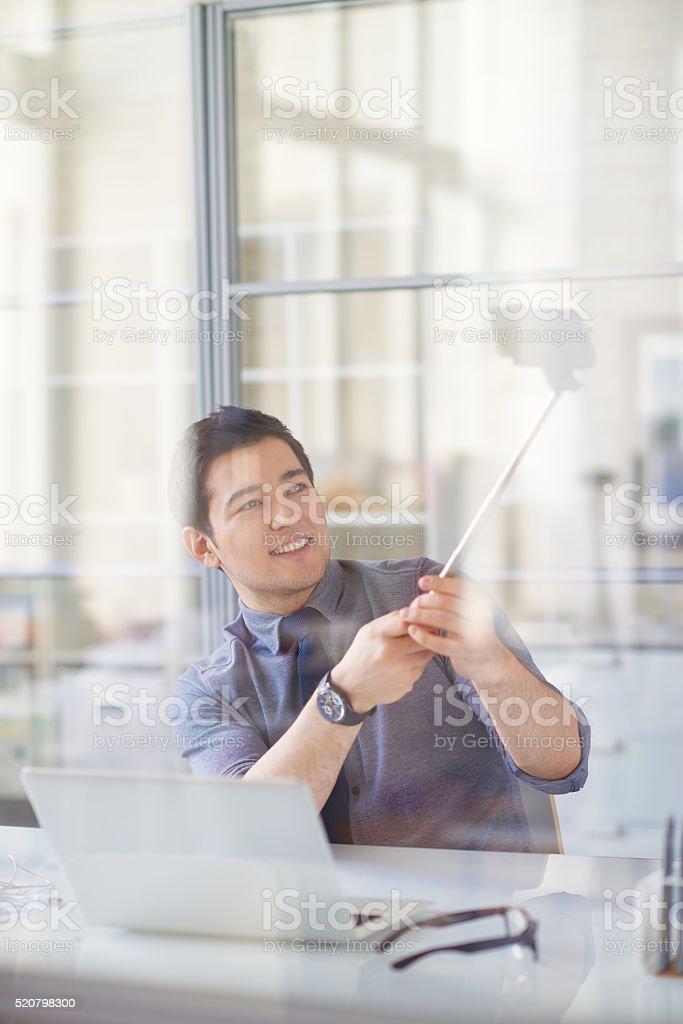 Selfie at work stock photo