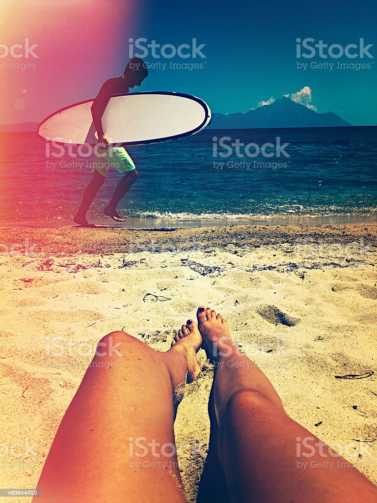 Selfie by the sea stock photo