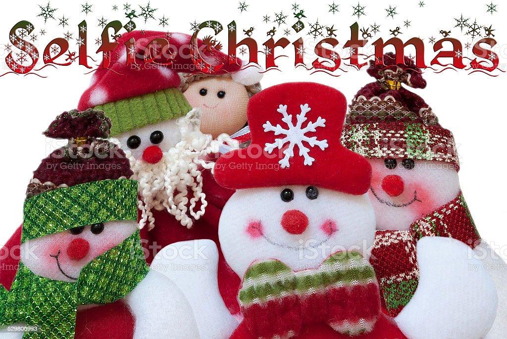 Selfie Natal. Papai Noel e seus amigos. Engraçado composição foto royalty-free