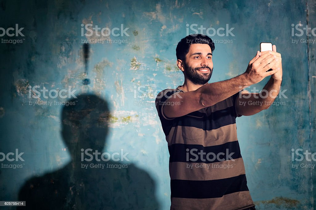 Selfie crazy stock photo