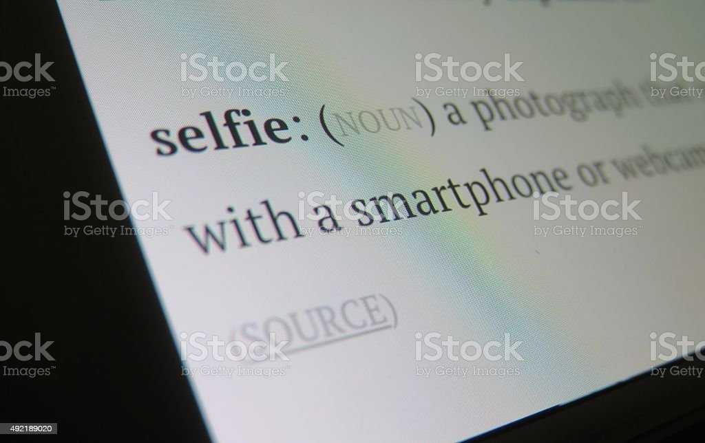 selfie -Dictionary definition stock photo