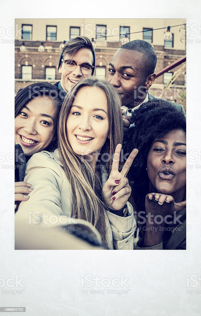 Selfie during a party in New York East Village stock photo