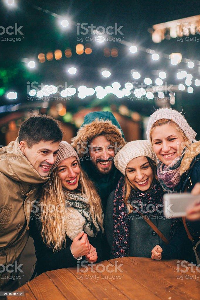 Selfie during Christmas market stock photo