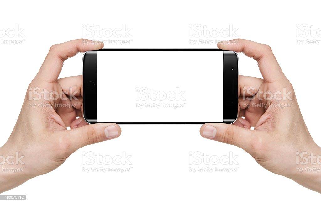 Selfie / Holding blank mobile smart phone stock photo