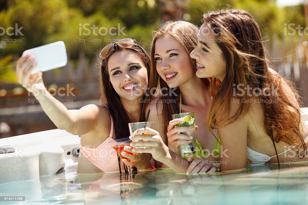 Selfie in a pool stock photo