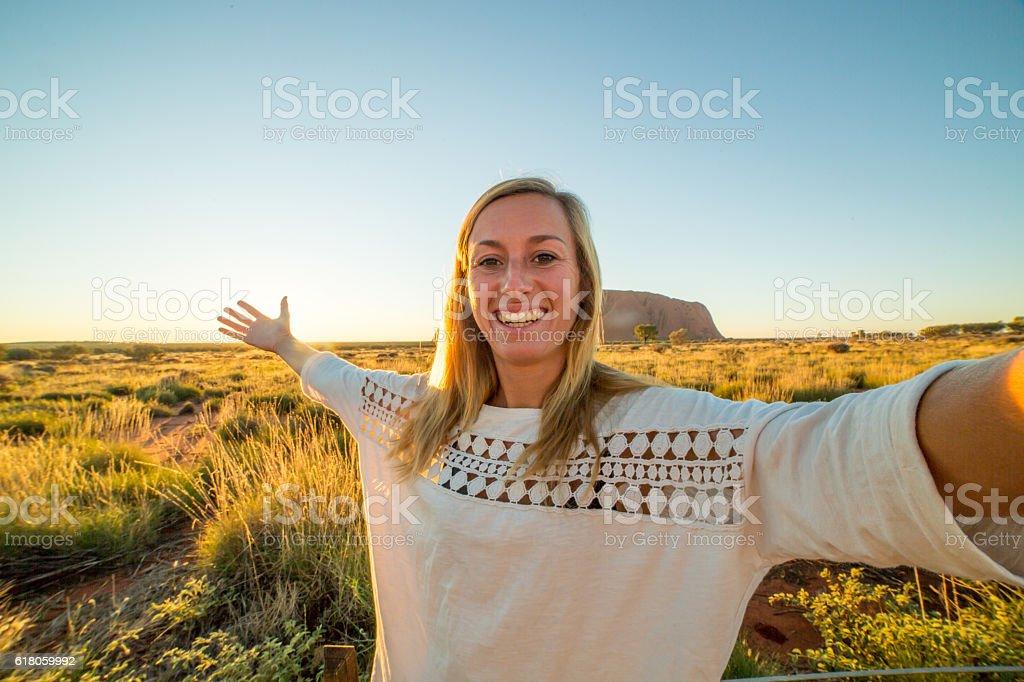 Selfie in Australia stock photo