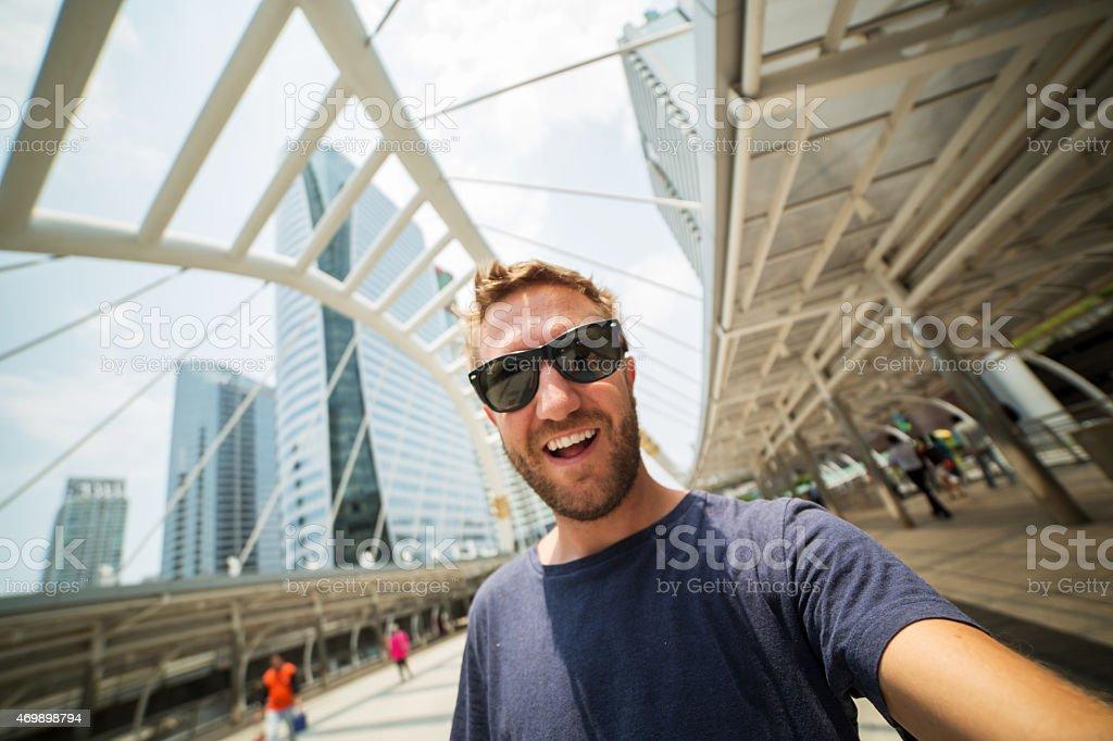Selfie in Bangkok stock photo