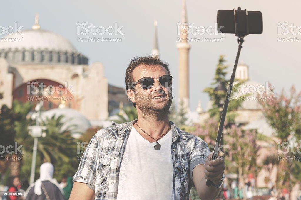 Selfie in front of the Hagia Sophia stock photo