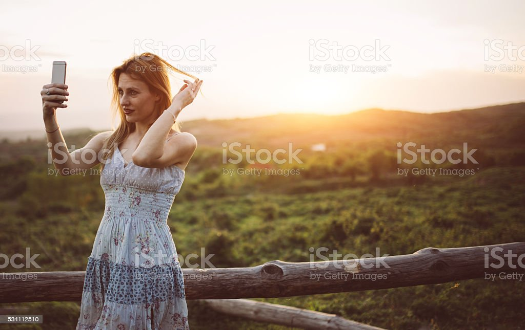 Selfie in nature stock photo