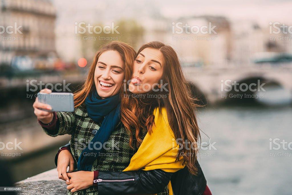 Selfie in Paris stock photo