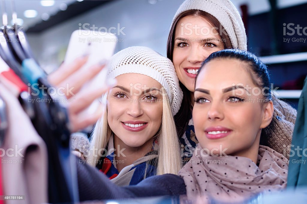 Selfie in shopping mall stock photo