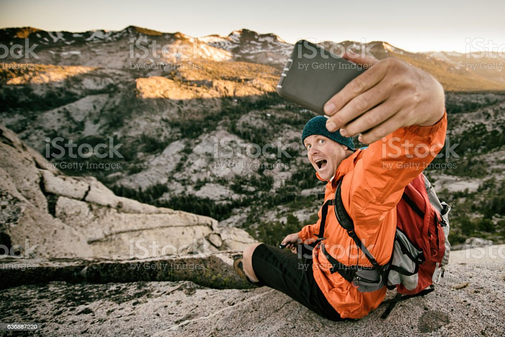 Selfie in the backcountry stock photo