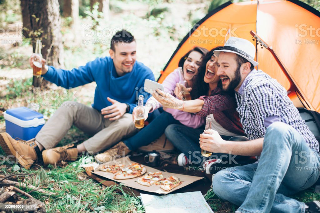 Selfie in the forest with friends stock photo