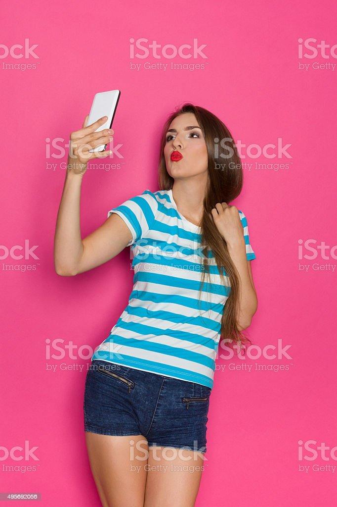 Selfie Kiss stock photo