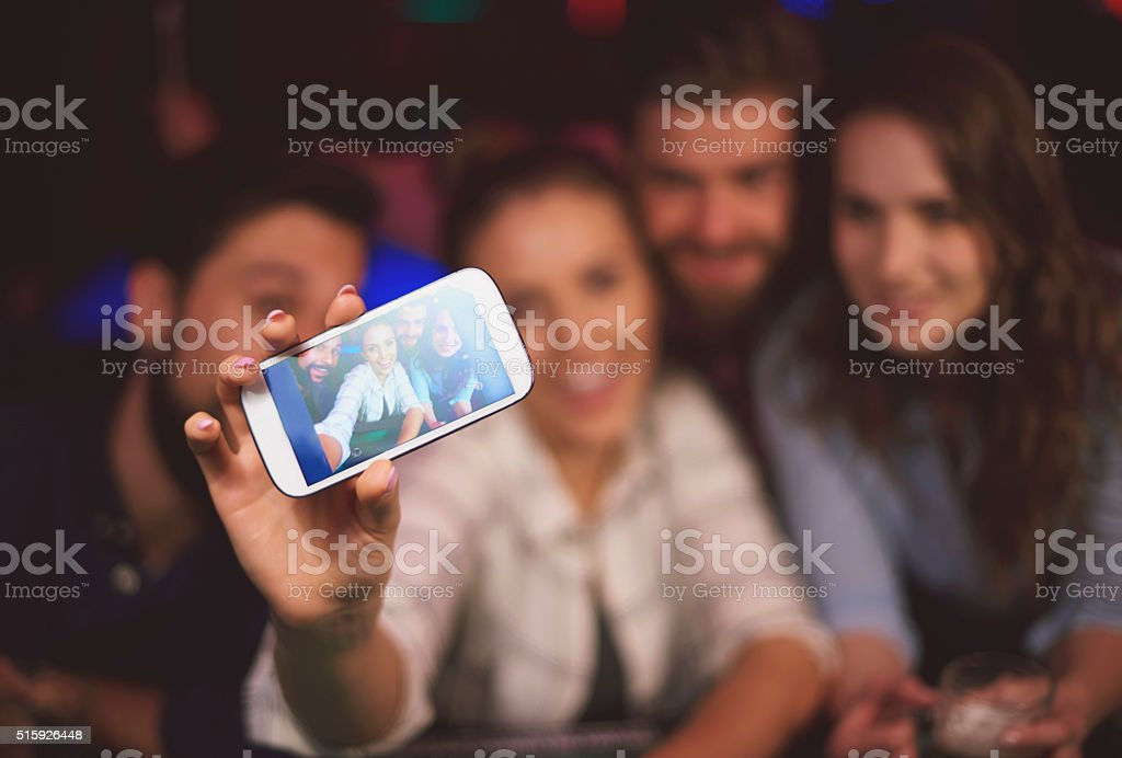 Selfie made in the pub stock photo