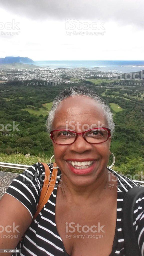 Selfie Mature African American Woman on Island of Oahu stock photo