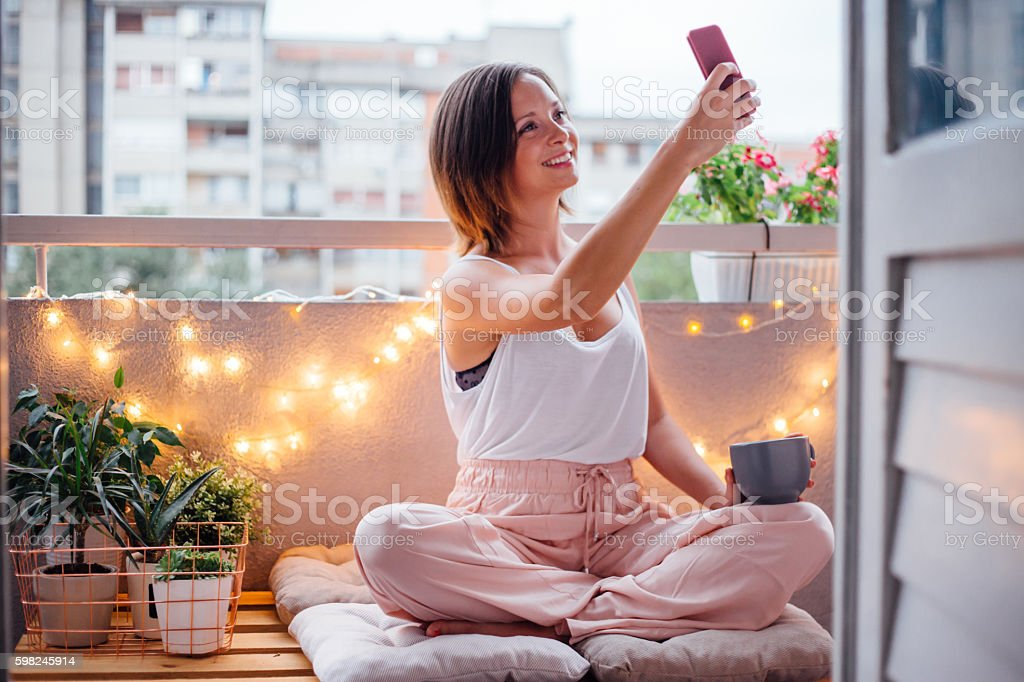 Selfie moment on terrace stock photo