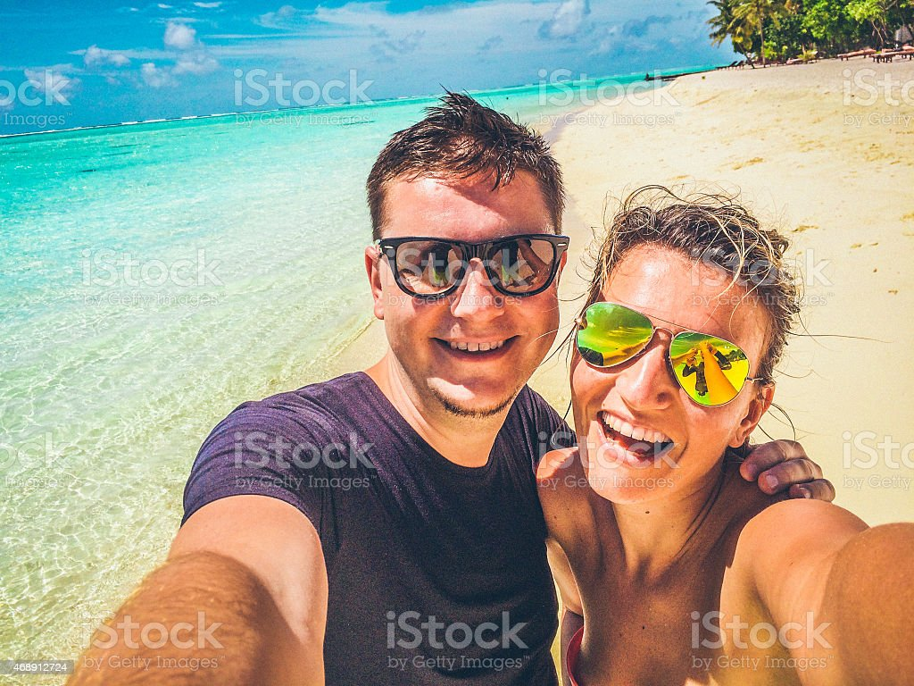 Selfie of a couple in the tropical paradise stock photo